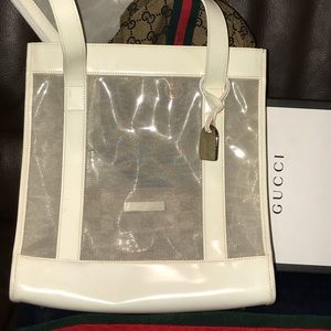 Auth Gucci mesh/leather Bag W/ Pouch .. Gorgeous!!
